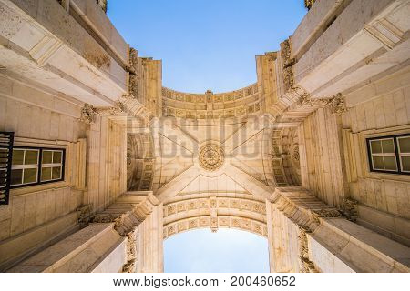 10 July 2017 - Lisbon, Portugal. Lisbon, Portugal. Looking Up At The Iconic Augusta Street Triumphal
