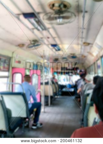 Buses blurred with passengers on the way
