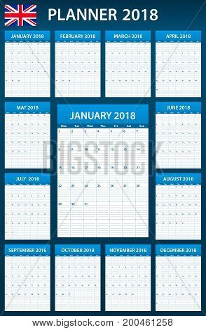 UK Planner blank for 2018. English Scheduler, agenda or diary template. Week starts on Monday