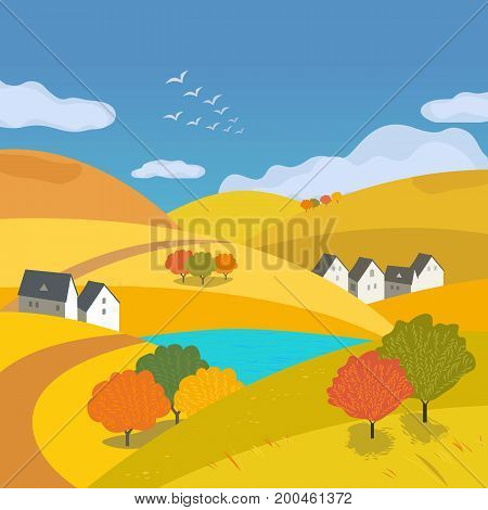 Autumn outdoors landscape. Freehand drawn cartoon style. Farm houses country winding road on meadows and fields. Rural community. Lake view among hills. Vector village countryside scene background