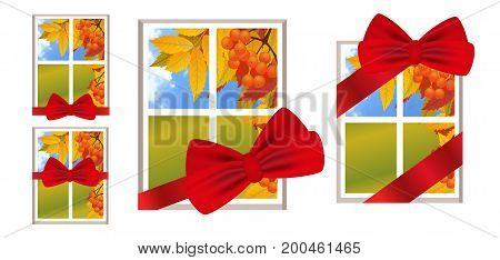 Window with red ribbon and bow as a gift with a landscape autumn view branch of rowan. Set illustrations over white background. Vector.