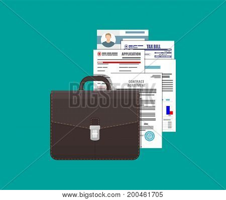 Leather business briefcase and pile of various documents sheet. Office contracts, agreements, reports. Bag of lawyer with docs and forms. Vector illustration in flat style