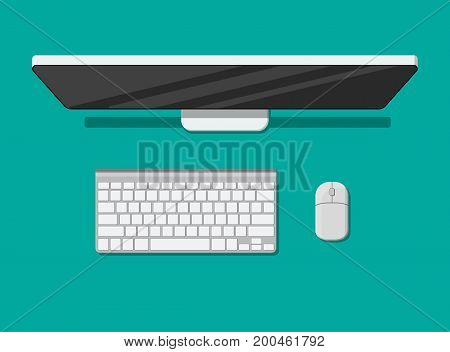 PC top view. Modern desktop computer with keyboard and mouse. Personal computer screen top view. Wireless input devices. Vector illustration in flat style