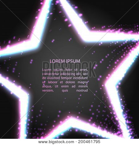 Greating card with neon shining neon star