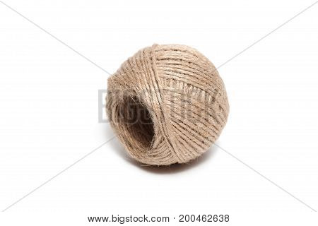 Rope jute coil isolated on white background