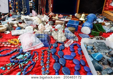 Old Beads, Precious Stones, Jewelry From The Flea Market In Stockholm