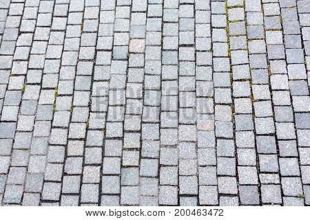 Perspective View Of Monotone Gray Brick Stone On The Ground For Street Road. Sidewalk, Driveway, Pav