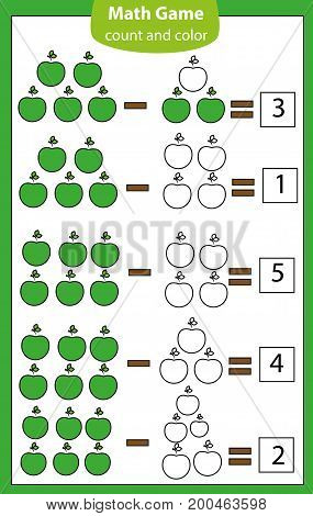 Math educational game for children. Counting equations. subtraction worksheet