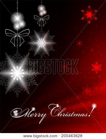 Christmas dark red background with snowflakes, bows and text