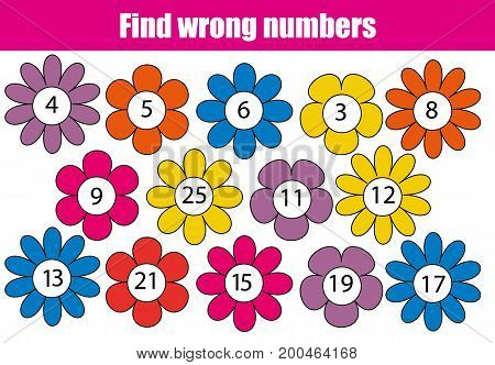 Mathematics educational game for children. Find wrong numbers in row
