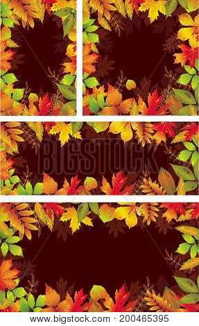 Set of Seasonal vector banners of autumnal leaves