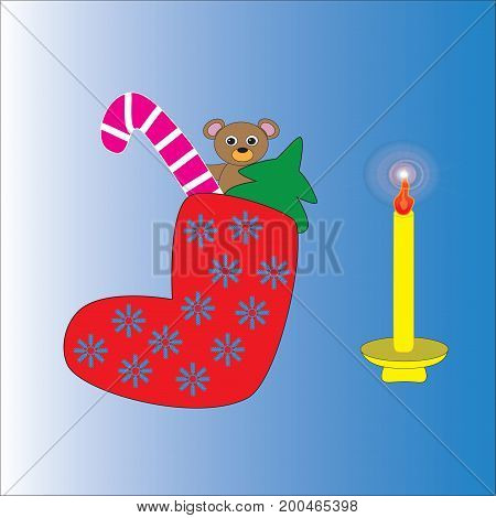 Christmas sock with a gift and a burning candle isolated gradient background.