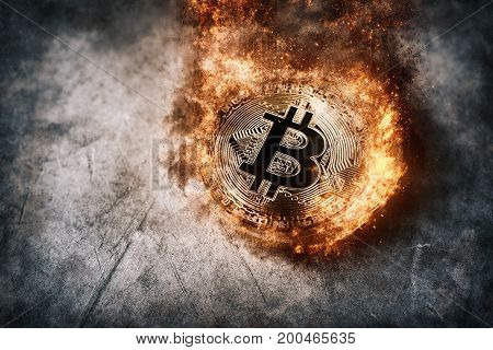 Burning golden bitcoin coin Crypto Currency background concept.