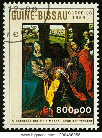 Moscow Russia - August 19 2017: A stamp printed in Guinea-Bissau shows painting