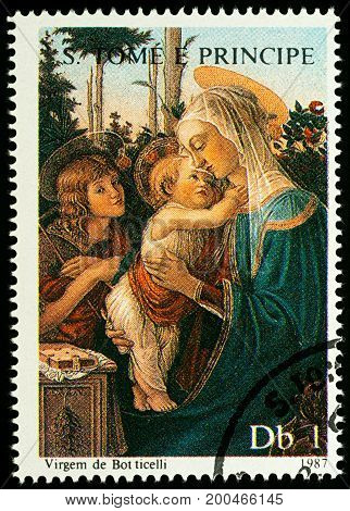 Moscow Russia - August 17 2017: A stamp printed in Sao Tome and Principe shows painting Madonna with Child by Botticelli series