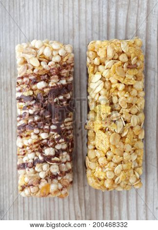 Healthy Cereal Bars On Wood Background