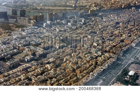 Aerial View of Dubai City in the early morning