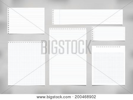 White striped, ruled, squared note, copybook, notebook paper stuck on grey background