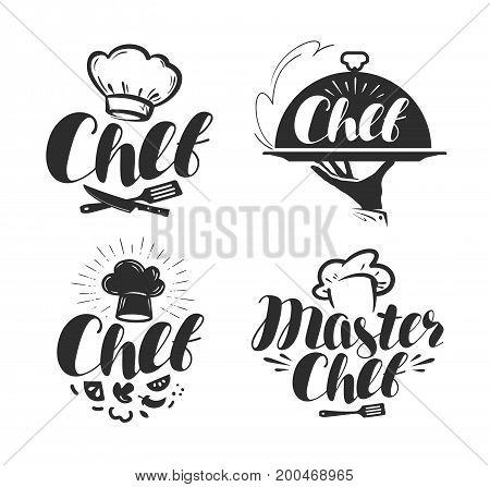 Chef, cook logo or label. Illustration for design menu restaurant or cafe. Lettering vector isolated on white background