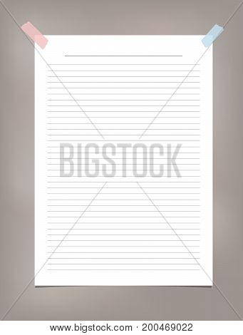 White ruled, striped note, copybook, notebook paper stuck on brown background