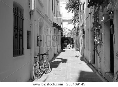 South morning in the narrow street of Rethymnon Greece
