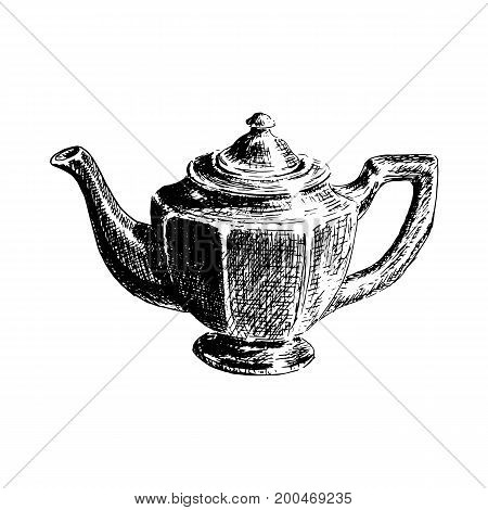 Graphic hand drawn tea pot on white background. Kitchenware isolated, drawn vector sketch illustration. side view. Retro style. For prints, textile, advertising, poster, tourism, postcard