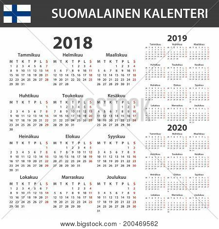 Finnish Calendar for 2018, 2019, 2020. Scheduler, agenda or diary template. Week starts on Monday