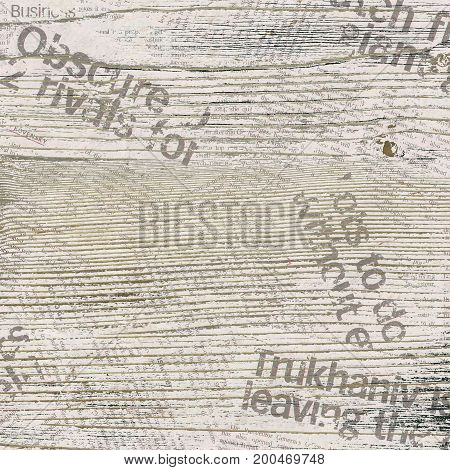 Grunge background with wood and newspaper pattern