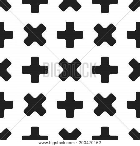Seamless geometric patter with black crosses on white background. 80s-90s retro design. Vector illustration.