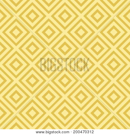 Gold seamless pattern with rhombus and diagonal lines. Abstract geometric background. Vector illustration.