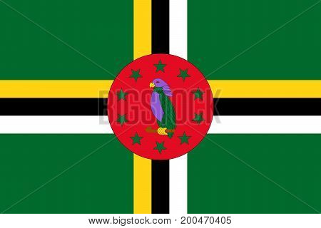 Vector illustration of National Flag of Dominica