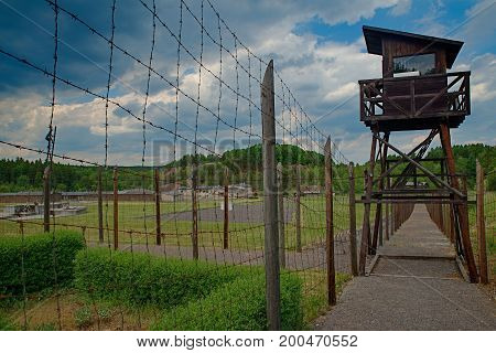 Lazany, Czech Republic - June 3, 2017. Concentration Camp Vojna Is A Outdoor Musem Near Pribram, Cze