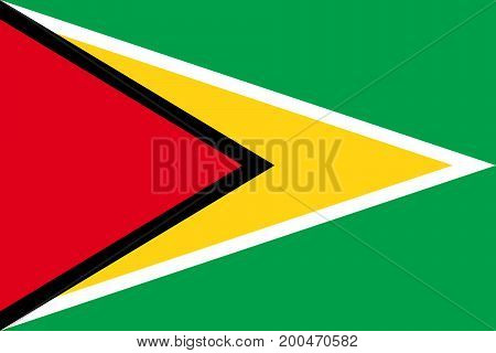 Vector illustration of National Flag of Guyana