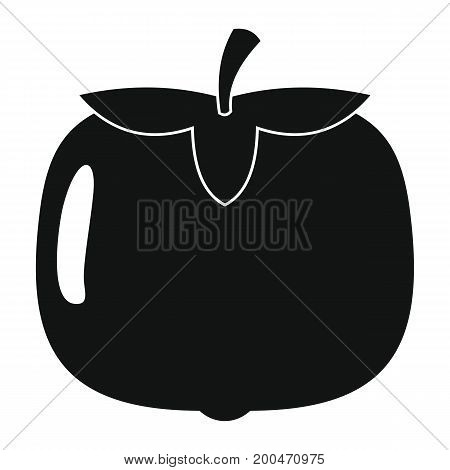 Persimmon in black simple silhouette style icons vector illustration for design and web isolated on white background. Persimmon vector object for labels and logo