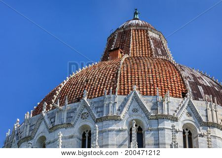 Pisa Italy. Baptistry on the Piazza dei Miracoli. Italian: Square of Miracles.