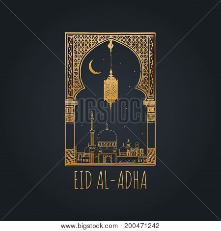 Eid al-Adha Mubarak calligraphic inscription translated into English as Feast of the Sacrifice. Hand sketched mosque, arch and lamp. Vector hand written text with islamic holiday symbols.
