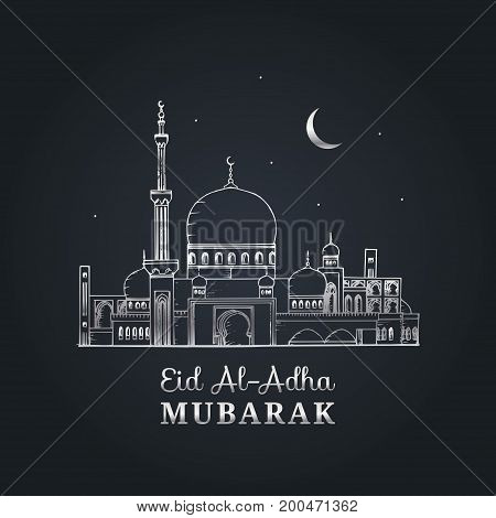 English translation from arabic Feast of the Sacrifice graphic poster. Greeting card with Eid al-Adha Mubarak calligraphy. Vector illustration of islamic holiday symbol. Hand drawn mosque.