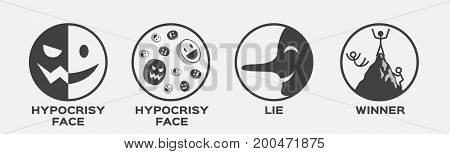 hypocrisy face , lie and winner vector icon . business concept