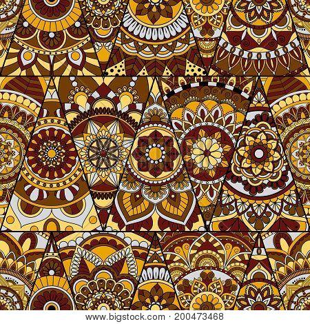Seamless Mandalas Pattern. Vintage Decorative Elements With Mandala. Hand Drawn Mandala Background.