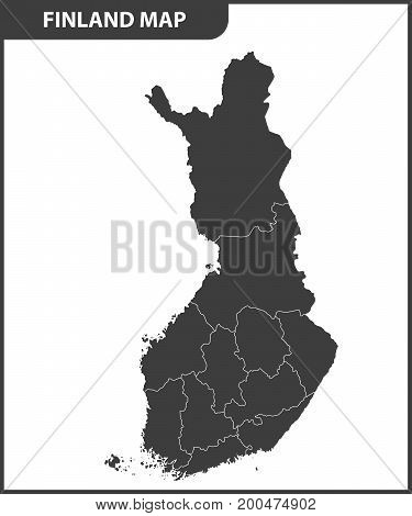 The detailed map of the Finland with regions