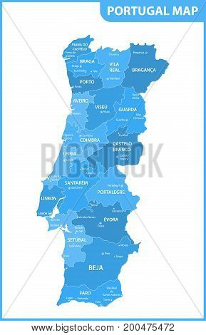 The detailed map of the Portugal with regions or states and cities, capitals
