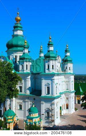 Beautiful Troitskyi monastery from the height of the bird's flight in Chernihiv