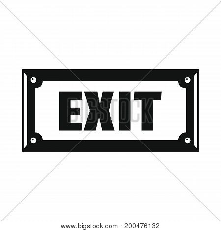 Metal signboard exit black simple silhouette icon vector illustration for design and web isolated on white background. Signboard vector object for labels  and advertising