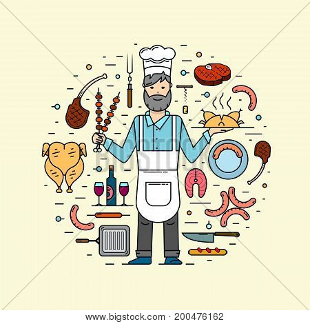 Chef and colour cooking design elements: meat on dish grill pan knife and fork sausage on a plate grilled sausages whole chicken salmon steak corkscrew and cork bottle and glasses beef steak lamb on bone shish kebab. Profession background.