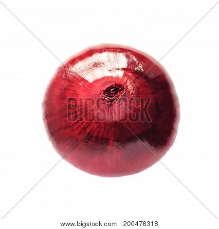 Top view of red onion isolated on white background