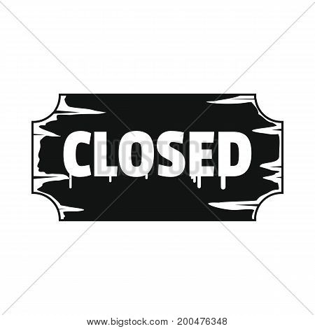 Signboard metal closed black simple silhouette icon vector illustration for design and web isolated on white background. Signboard vector object for labels  and advertising
