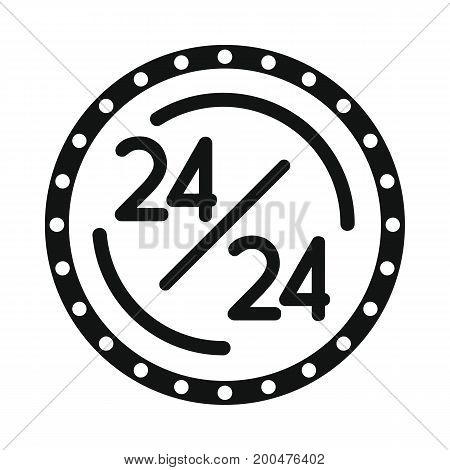 Old neon signboard 24 black simple silhouette icon vector illustration for design and web isolated on white background. Signboard vector object for labels  and advertising