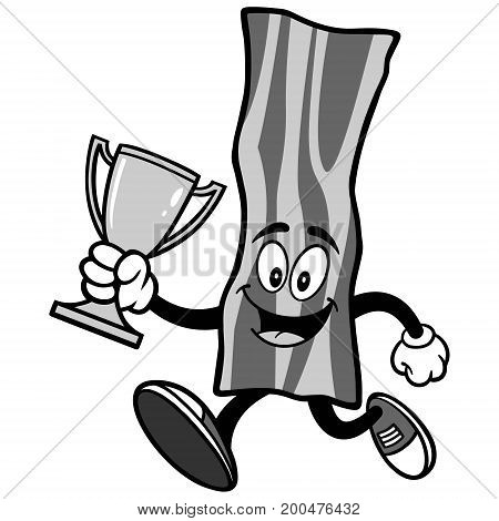 A vector illustration of a Bacon Strip mascot.