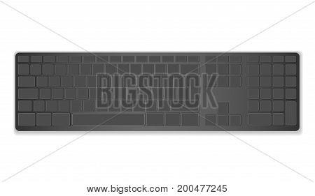 Modern layout, keyboard black computer keyboard, black keyboard isolated on white background. Vector illustration. EPS10.