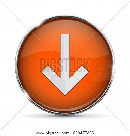 Orange DOWN button with white arrow. Shiny 3d icon with metal frame. Vector illustration isolated on white background